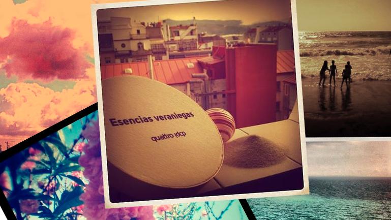 Foto vintage desde nuestro balcón del estudio con el set de esencias veraniegas