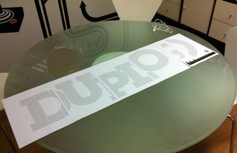 Las páginas del fax, formando la palabra Duplo.