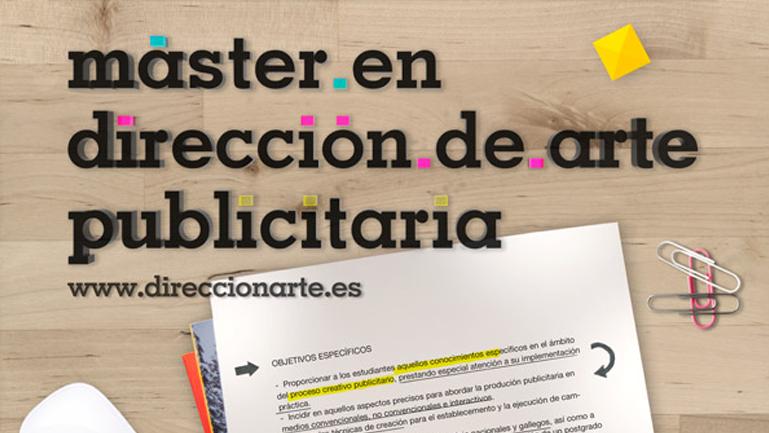 Cartel del Máster en Dirección de Arte Publicitaria da Universidade de Vigo