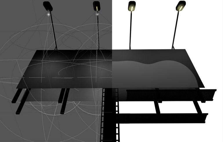 Aplicación de técnicas de render que simulan un efecto de dibujo animado en diferentes momentos del video. Sobre todo por unificar la estética y que la paleta cromática del video estuviera fuertemente conexionada.  En la imagen podemos comparar en Wireframe con el resultado de aplicar acabados de dibujo sobre el modelo.