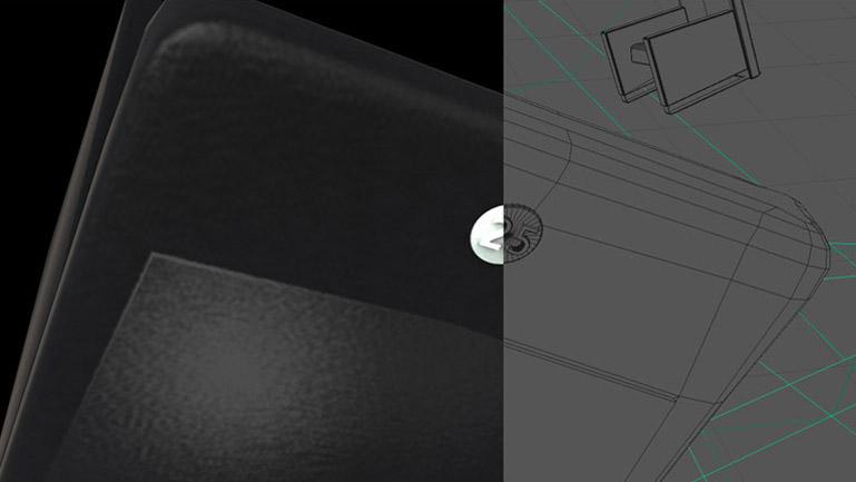 Imagen comparativa entre wireframe y render final. Los acabados del sombreado sobre negro buscan plasmar los matices de una superficie aterciopelada. El aplique con el número 25 referencia la edición del festival. (Duplo)