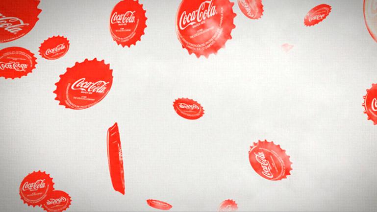 Styleframe. Prueba de la composición de la lluvia de chapas de Cocacola.