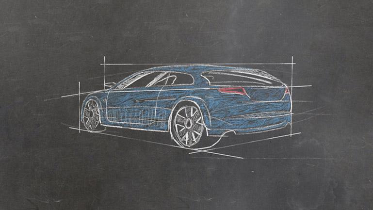 Detalle del coche dibujado a tiza en la pizarra.