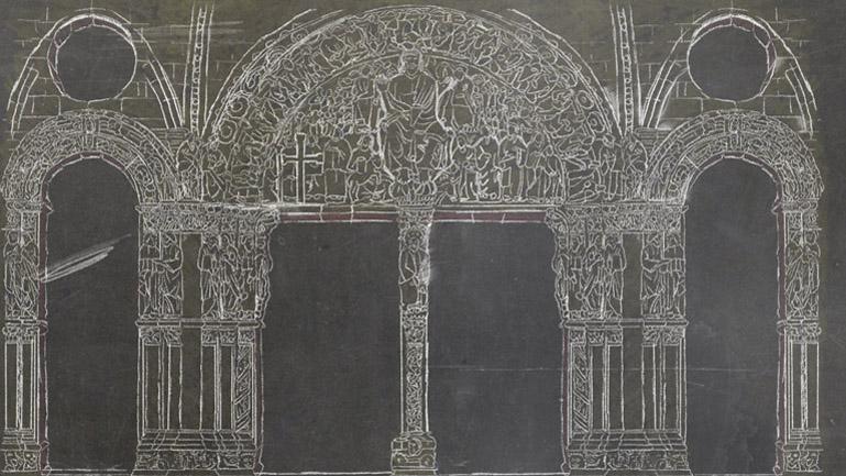 El Pórtico de la Gloria dibujado a tiza, como escenario de la acción (Duplo).