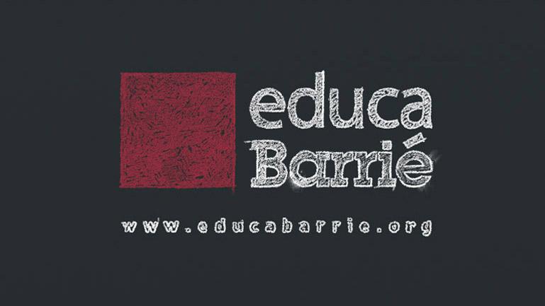 Adaptación de la imagen corporativa de la acción educaBarrié a la estética de trazo de tiza de la pieza. (Duplo)