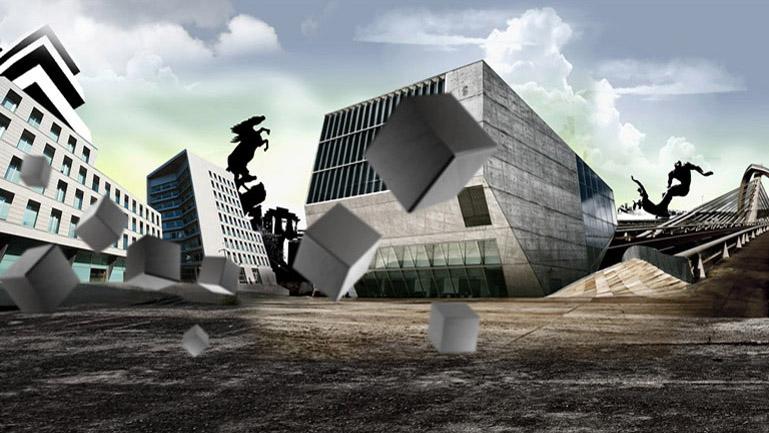 Matte painting para compner un espacio formado por los edificios más emblemáticos de la ciudad gallega de Vigo: El Ayuntamiento, el Hospital Xeral, la estatua de la Plaza de España y El Sireno
