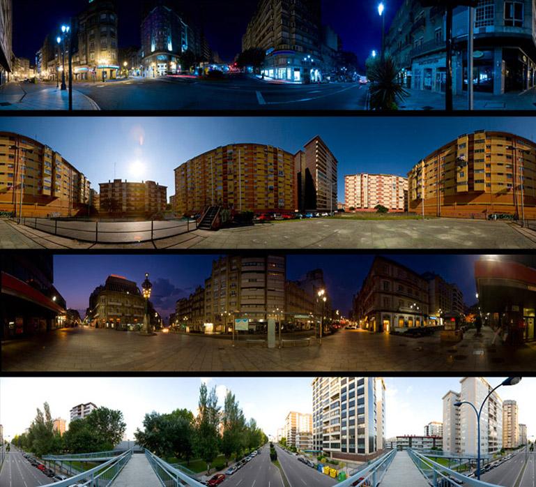 Panorámicas de diferentes zonas de la ciudad de Vigo. La selección de las localizaciones fue realizada por El Puto Coke, como lugares significativos de su experiencia urbana.