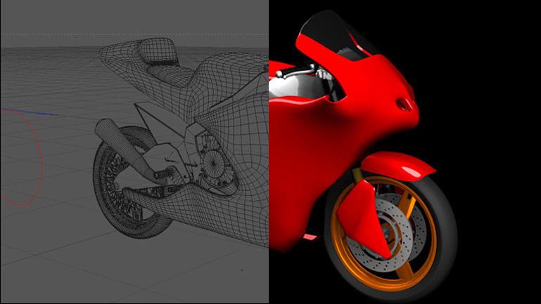 Estudio entre la geometría de la moto y la aplicación de luces y sombreado para conseguir los efectos fotorealistas . La iluminación aplicada en este caso simula el de un plató de estudio, para resaltar los efectos cromados de las piezas metálicas y el acabado brillo del carenado.