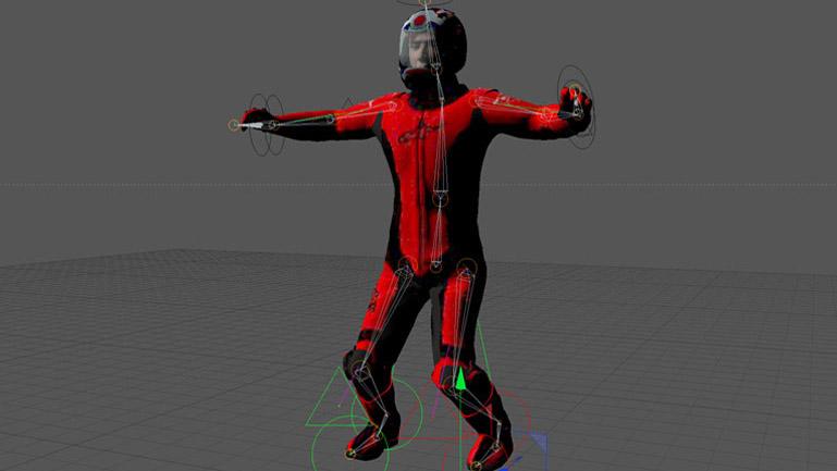 Previsualización del modelo aplicando la estructura de huesos y la técnicas Rig que permiten articular al piloto.