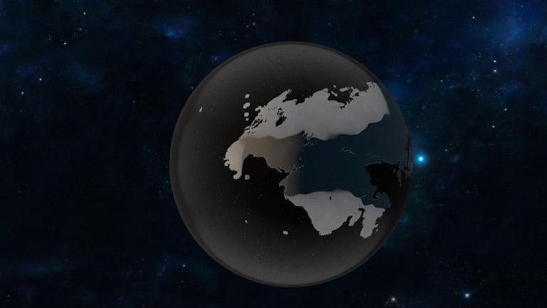 Plano inicial. El mundo hecho de mercurio sólido flota inerte en el espacio.