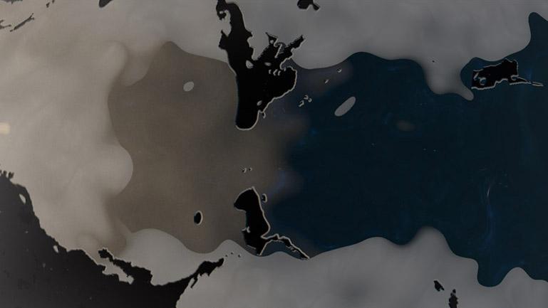 Detalle de la formación de los continentes en la superficie del planeta con mercurio líquido.