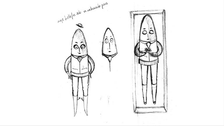 Primeros bocetos del estudio del personaje de Mr Bullet (Señor Bala) realizados por la ilustradora Pirusca (Natalia Rey)