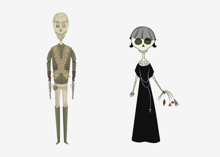 Esbozos preliminares al modelado 3D de los personajes de Mr. War (señor Guerra) y Ms. Dead (Señora Muerte) elaborados por Pirusca para Duplo..