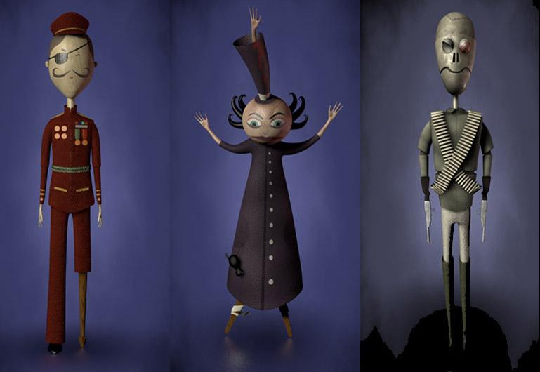 Modelado 3D y texturado de los personajes Mr War (Señor Guerra), Lord Terror (Señor Terror) y Mr Weapon (Señor Arma).