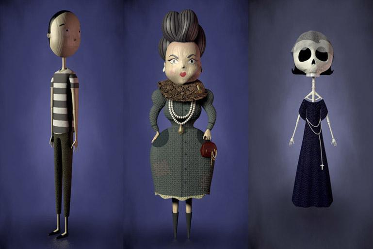 Modelado 3D y texturado de los personajes Mr Indifference (Señor Indiferencia), Mrs Greed (Señora Avaricia) y Mrs Death (Señora Muerte).