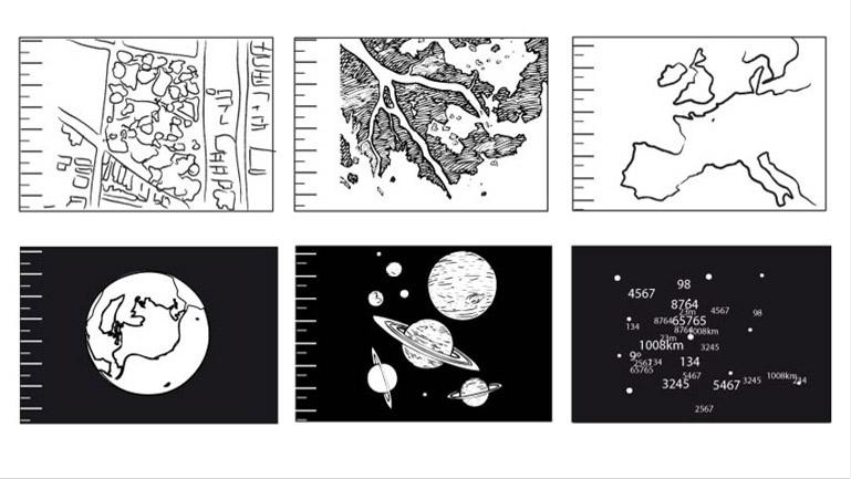 Fragmento del storyboard. Define la parte en la cual sobrevolamos el territorio físico de la tierra hasta llegar a mostrar los planetas.