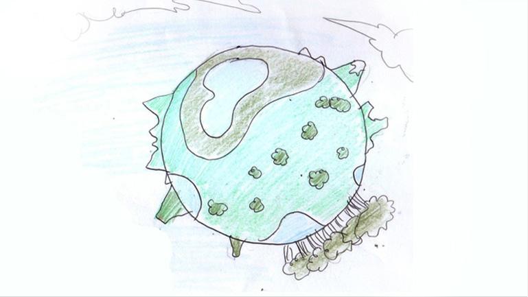 Primeros elementos del desarrollo del spot. Partiendo de la la idea de las cuatro esferas pertenecientes al cartel, elaboramos cuatro mundos, que se presentan uno a uno ante la cámara.  Cada uno de los mundos debía presentar diferentes rasgos en los que la ciencia presta un valor intrínseco a la sociedad.