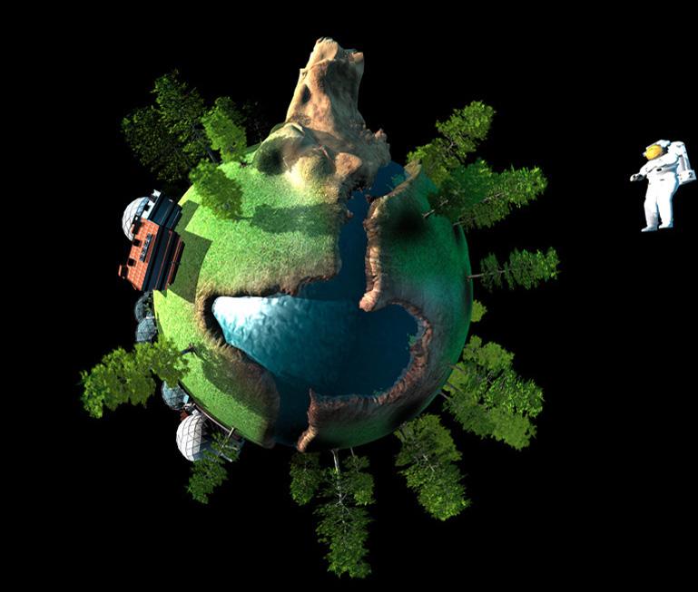 Planeta Verde. Un mundo natural donde predomina el color verde y las plantas, en que la investigación en biología contribuye a la perpetuación del planeta.
