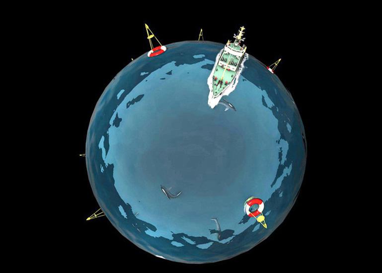 Planeta Azul. Mundo marino, donde un buque oceanográfico surca sus aguas.