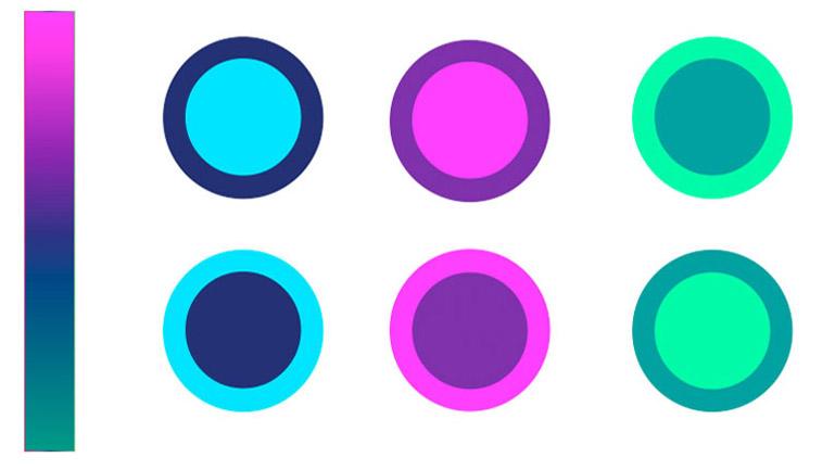 Esquema de color que representa la paleta básica empleada para el desarrollo del paquete gráfico por Duplo.