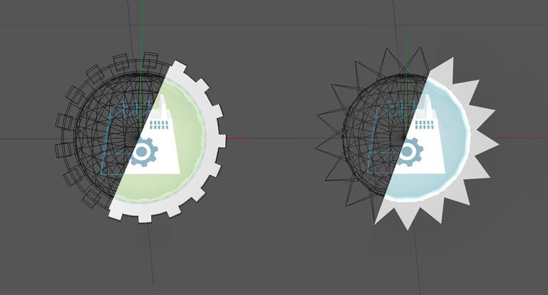 Estudio comparativo entre los modelos de nodos de la red en wireframe y el render final (Duplo)