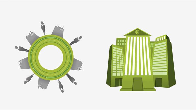 Diseños de los conceptos de 'Mercado' y 'Entidades Financieras' utilizados en la pieza 'Trocobank' (Duplo)